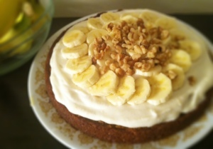 Banana Cake with Vegan Cream Cheese Frosting