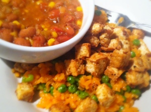 seasoned rice & crispy tofu