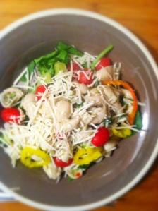 Parmasean spinach pasta salad