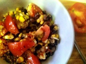 Blackbean lentil & corn salad