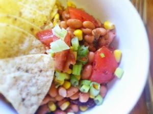 Pinto bean, corn & tomato salad- STARTERS AND SALADS