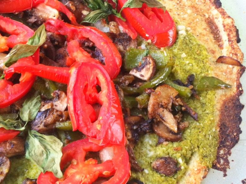 swiss chard pesto pizza close
