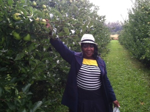 Mom apple picking