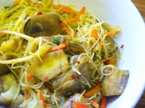 Spicy Curry Rice Noodles w Eggplant