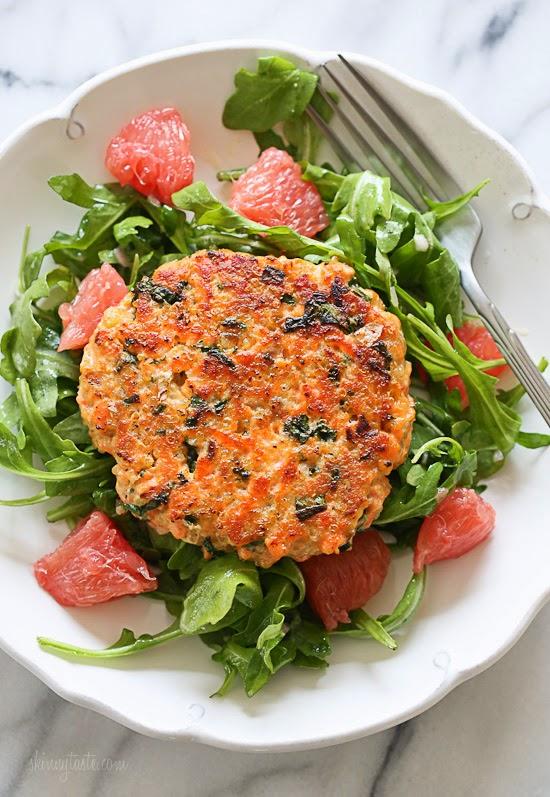 Salmon+Quinoa+Kale+Burgers+with+Arugula